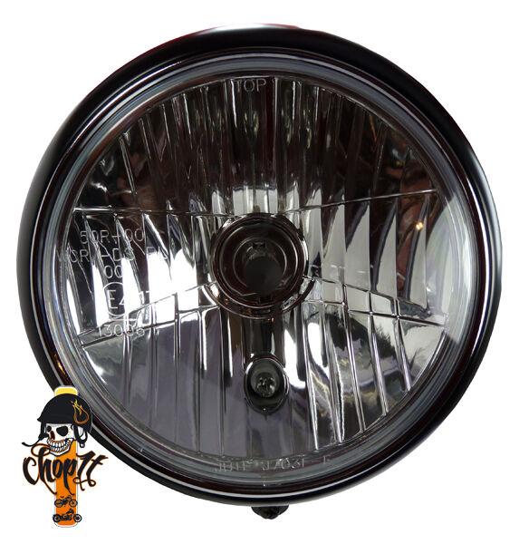 grosser motorrad scheinwerfer schwarz halterung unten f r. Black Bedroom Furniture Sets. Home Design Ideas