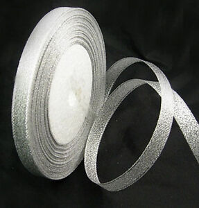25 Yard Roll  - Glitter / Sparkle Organza Ribbon - Silver or Gold choose width