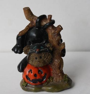 Halloween Teddy Bear Figure Wearing a Black Cat Costume-Pumpkin Resin Figurine (Pumpkin Cat Halloween Costume)