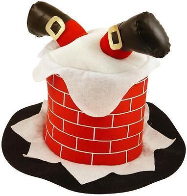 hnachtsmann Beine Stuck Im Kamin Neuheit Hut Kostüm (Erwachsene Santa Hut)