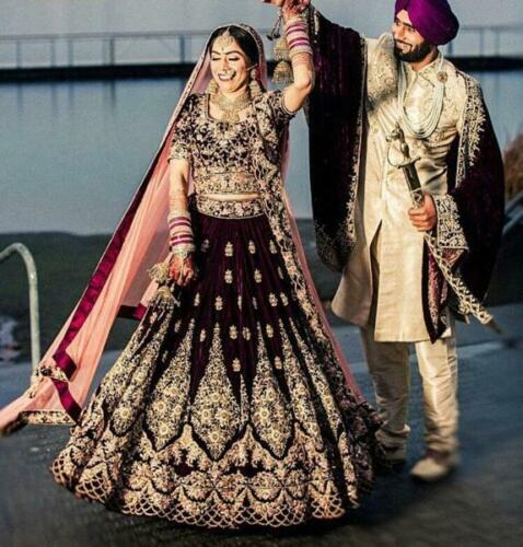 Pakistani Wine Bollywood Indian Wedding Lehenga Bridal Party Wear Lengha Choli