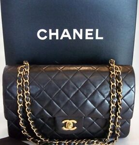 Authentic Chanel Classic Quilted 2.55 Double Flap Bag + Box Card Hampton Bayside Area Preview