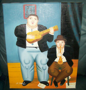 Oil on Canvas Copy of Botero The Musicians