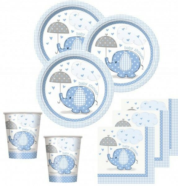48 tlg Baby Shower Party Deko Set mit dem Motiv Elefant Blau 16 Personen Geburt