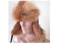 Men leather Real Fox Fur Russian hat