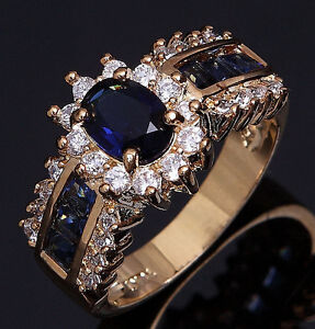 Size 8,9,10,11 Jewelry Woman's Blue Sapphire 18K Yellow Gold Filled Ring Gift