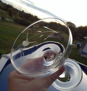 Vintage. 6 verres à champagne en cristal gravé d'un oiseau Gatineau Ottawa / Gatineau Area image 5