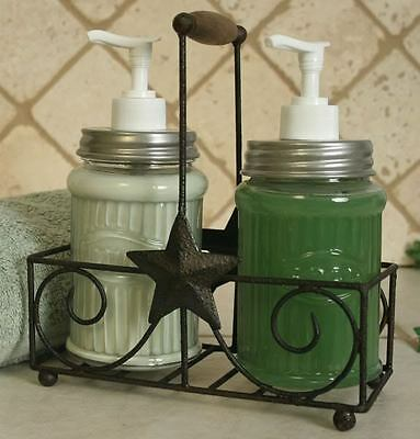 Country Primitive Star Lotion and Soap Dispenser Caddy New