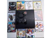 SONY PLAYSTATION PS3 SLIM CONSOLE & 10 GAMES CALL OF DUTY BLACK OPS MW2 MW3 MW4 AC3 FIFA METAL GEAR