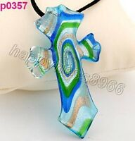 cross lampwork art glass glaze pendant necklace---BRAND NEW!!!