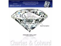 Non confict Diamond ,3 CT effect 9.5mm Certified Round Brilliant Cut Forever Brilliant Synthetic