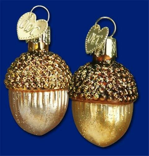 SET OF 2 SMALL ACORNS OLD WORLD CHRISTMAS GLASS FALL FOREST ORNAMENTS NWT 28051