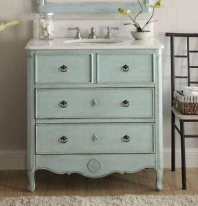 """34"""" Cottage look Distressed  Light Blue Daleville Bathroom vanity  SKU -HF081LB"""