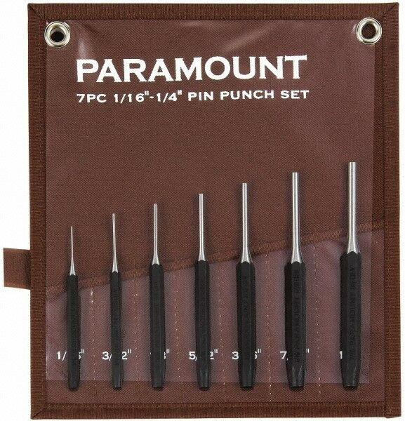"""Paramount 7 Piece Pin Punch Set 1/16 to 1/4"""" Hexagon Shank, Comes in Canvas Roll"""
