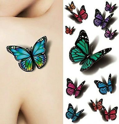 Pequeño Mariposa Tatuajes Temporales para Mujer Kit Temp 3d Wings