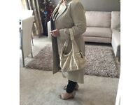 Genuine Real Leather Suede Coat- Beige/ Creme, Size 12