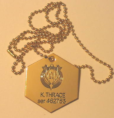 Battlestar Galactica Starbuck Kara Thrace Two Dog Tags Set Necklace NEW UNUSED