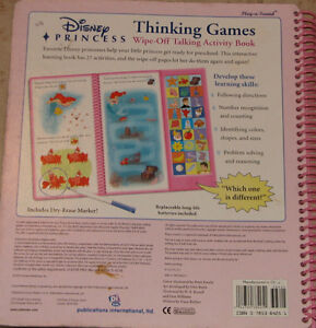 Disney Princess Thinking Games Wipe Off Talking Activity Book London Ontario image 2