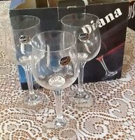 "6 New CRYSTAL WINE GLASSES in original gift box.  ""Diana"