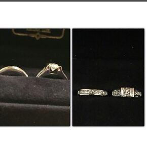 Ladies diamond engagement ring and wedding band