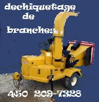 déchiqueteur,broyeur  de branche a louer +2 bras    450-209-7328