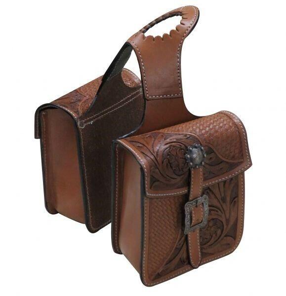 Showman MEDIUM OIL Basket Weave & Floral Tooled Leather Horn Bag! NEW HORSE TACK