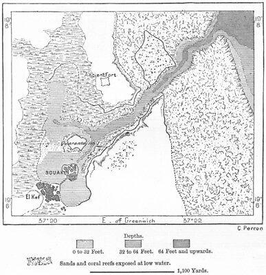 SUDAN. Suakin in 1882, sketch map c1885 old antique vintage plan chart