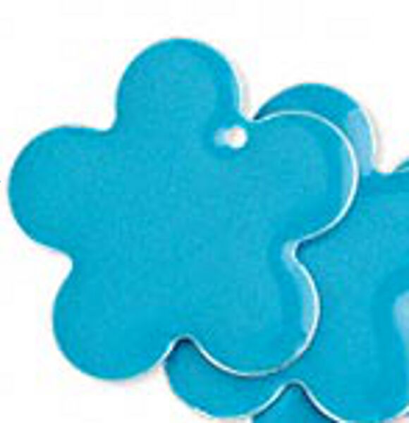 Flower Charms Turquoise Blue Daisy Pendants 1 Inch Jewelry Lot of 8