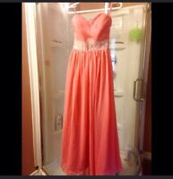 Coral pink gown prom dress