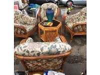 5 piece wicker conservatory garden chairs table