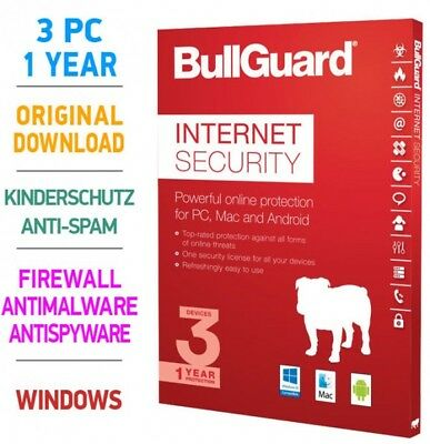 Bullguard Internet Security 3 pc 1 Jahr 2019 verschlüsseltes Cloud-Backup