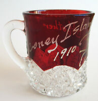 Antique Pressed Glass Ruby Flash Souvenir Cup, Coney Island