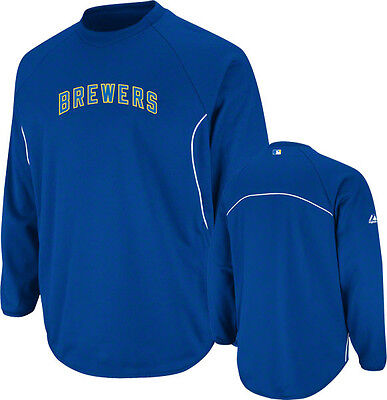 NEW MAJESTIC MILWAUKEE BREWERS THERMA BASE TECH FLEECE PULLOVER $60 MEDIUM M MD - Fleece Milwaukee Brewers Pullover