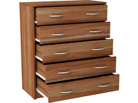 New Castle 5 Drawer Chest - Walnut