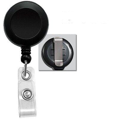 Lot Of 100 Pcs Black Retractable Reel Id Badge Holder Usa Wholesale Belt Clip