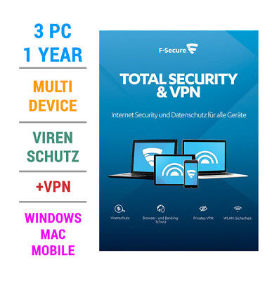 F-Secure TOTAL Security inkl. VPN 2018 3 PC Geräte 1 JAHR WIN MAC Android