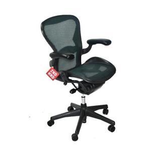 herman miller aeron chair size b green mesh