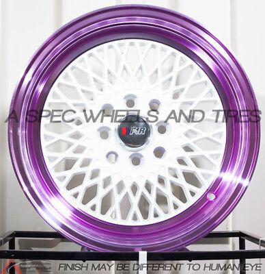 F1R F01 15x8 4x100/114.3 Et25 White/Purple Lip Wheels Fits Integra Accord Civic