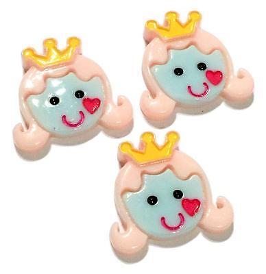 3 pcs Princess face w/ crown resin cabochon 30x28mm headband DIY hair bows