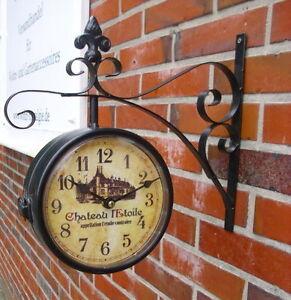 horloge de gare avec console murale ch teau style rustique ancien nostalgie. Black Bedroom Furniture Sets. Home Design Ideas