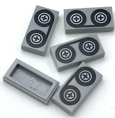 Lego 5 New Light Bluish Gray Tiles 1 x 2 Groove with Black Tape Reels Pattern