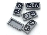 LEGO Tile With Groove Plate 1x2 Grey Tape Reel x5 81466
