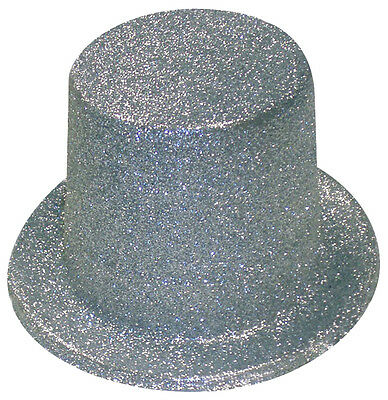 Silver Glitter Top Hat - Adult Fancy Dress Party Accessories