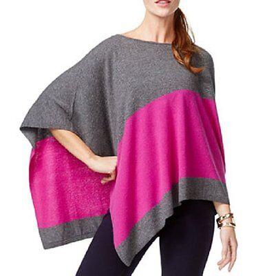 INC International Concepts Sweater Sz S-M Grey Magenta Wool Silk Blend Poncho