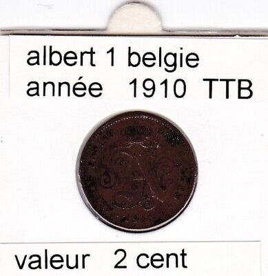 FB 1 )pieces de albert I  2 cent 1910 belgie