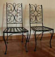 LATE ART DECO PERIOD RESTORED ORNATE PAIR OF PATIO CHAIRS