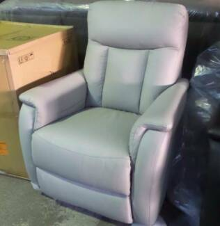 2 SINGLE RECLINERS IN LIGHT GREY COLOUR 100% LEATHER