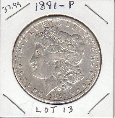 1891 P MORGAN SILVER DOLLAR. 90% SILVER. NICE CONDITION