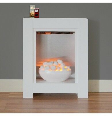 ELECTRIC FIRE WHITE BOWL SMALL FIREPLACE MODERN SURROUND SILVER FLAT WALL FIX