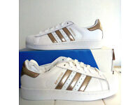 Ladies Adidas Superstar Rose Gold Trainers Size Uk 6 Eu 39 New!